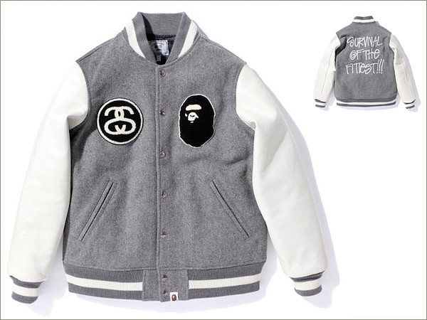 Stüssy & A Bathing Ape Varsity Jacket